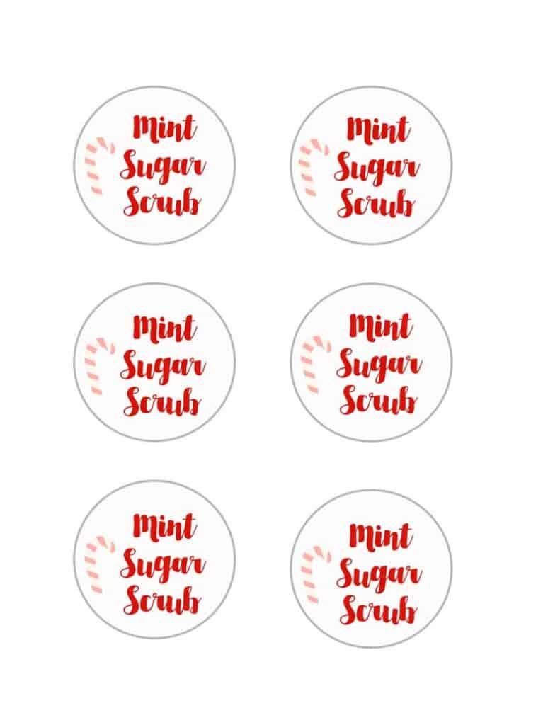 free printable mint sugar scrub tags