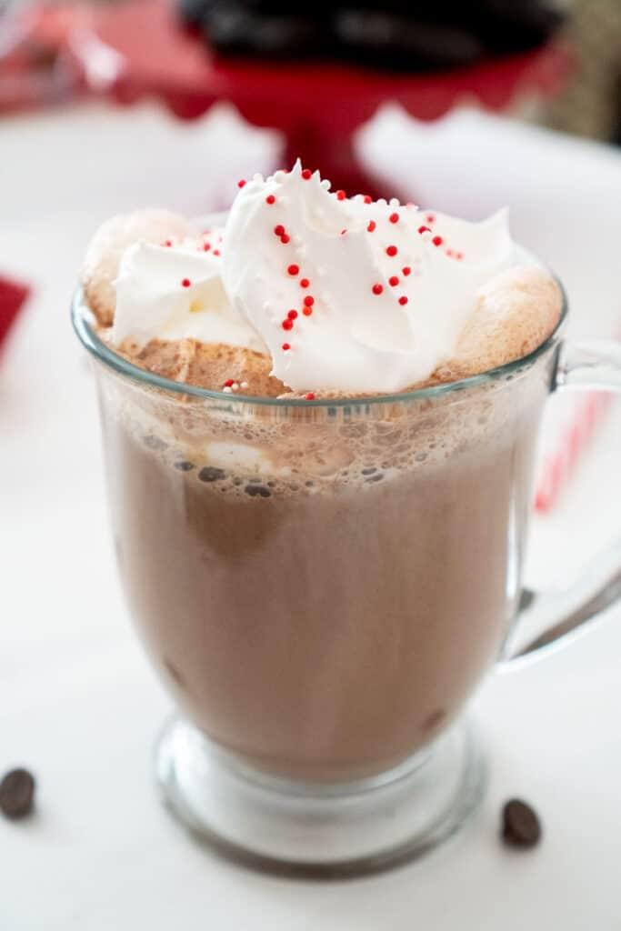 peppermint hot chocolate in glass mug