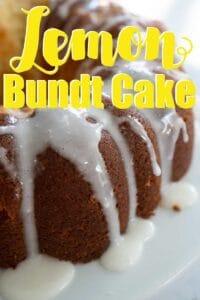 close up lemon bundt cake with lemon glaze