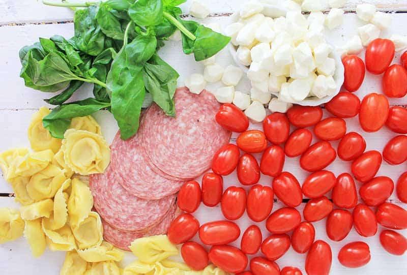 anitpasto skewer ingredients tomato salami cheese basil tortellini
