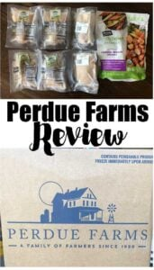 collage of perdue farms box and perdue chicken in packaging with text reading perdue farms review