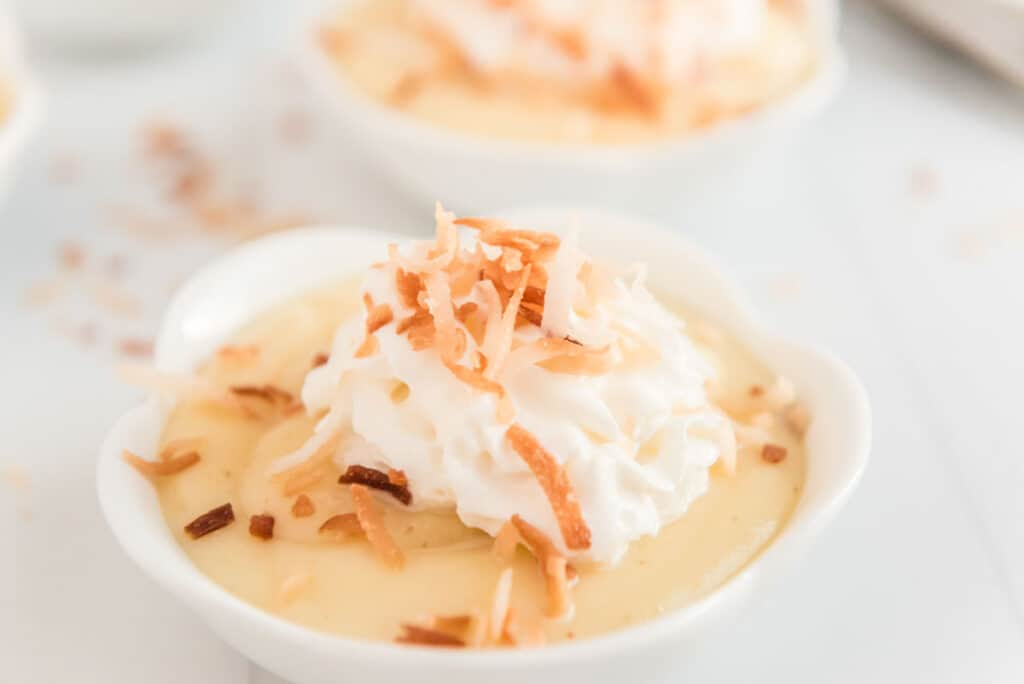 homemade coconut pudding in white ramekin with whipped cream and toasted coconut