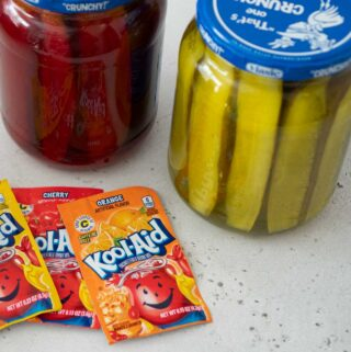 kool aid packets and jars of kool aid pickles