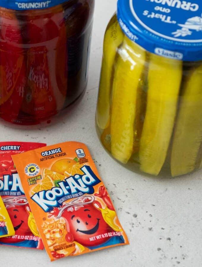 kool aid packets and jars of kool aid pickles