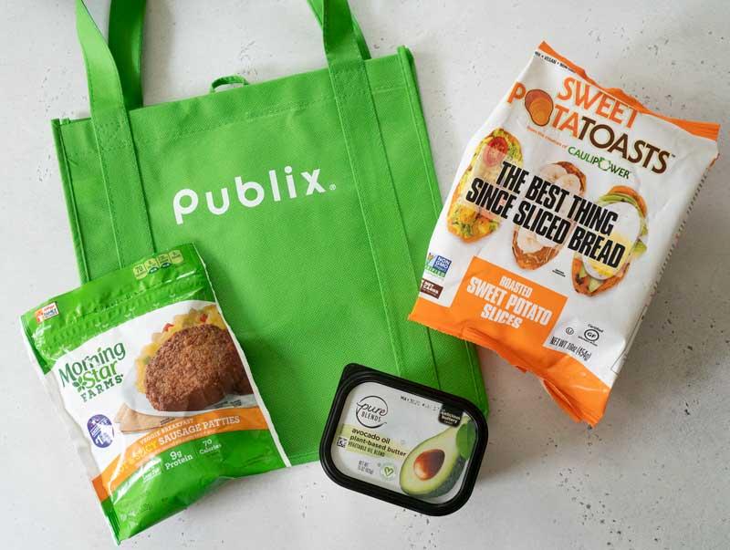publix bag with sweet potatoasts and veggie sausages