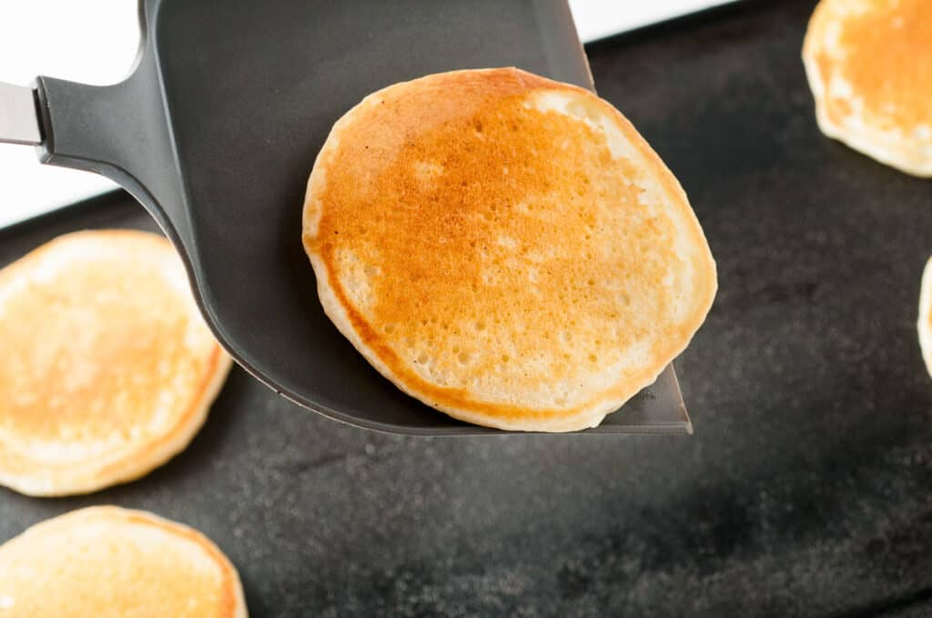 pancake on spatula after cooking