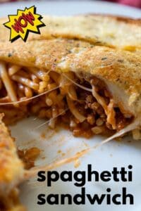 spaghetti sandwich cut in half on white plate with text reading spaghetti sandwich and wow icon