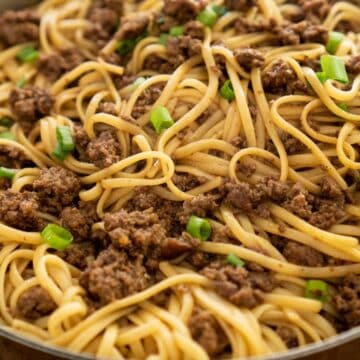 Mongolian noodles with ground beef in pan
