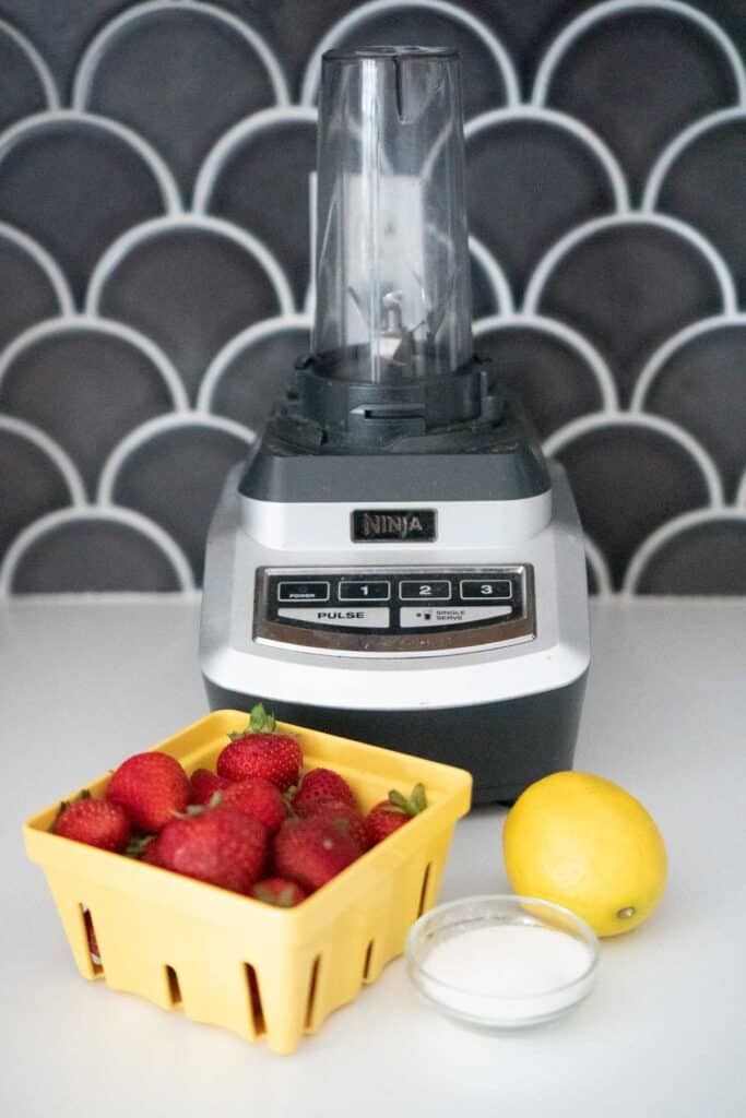 single serve blender with carton of strawberries, lemon and small glass bowl of sugar