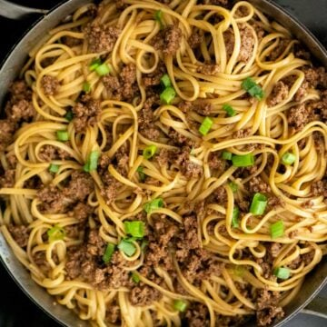 overhead view of Mongolian noodles in pan