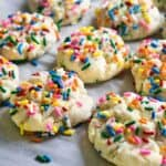 funfetti cookies on parchment paper