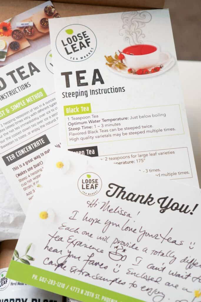 package inserts from loose leaf tea market with thank you note and steeping instructions
