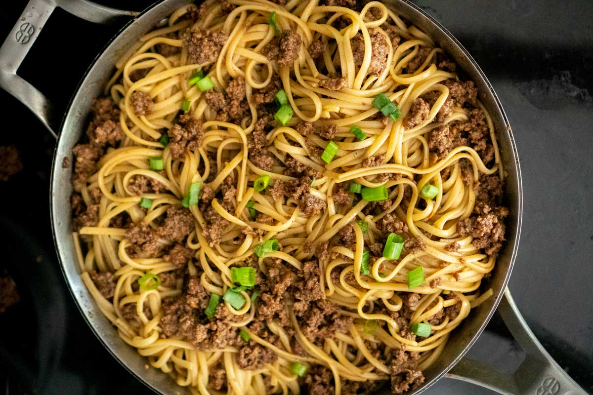 Mongolian Noodles with Ground Beef
