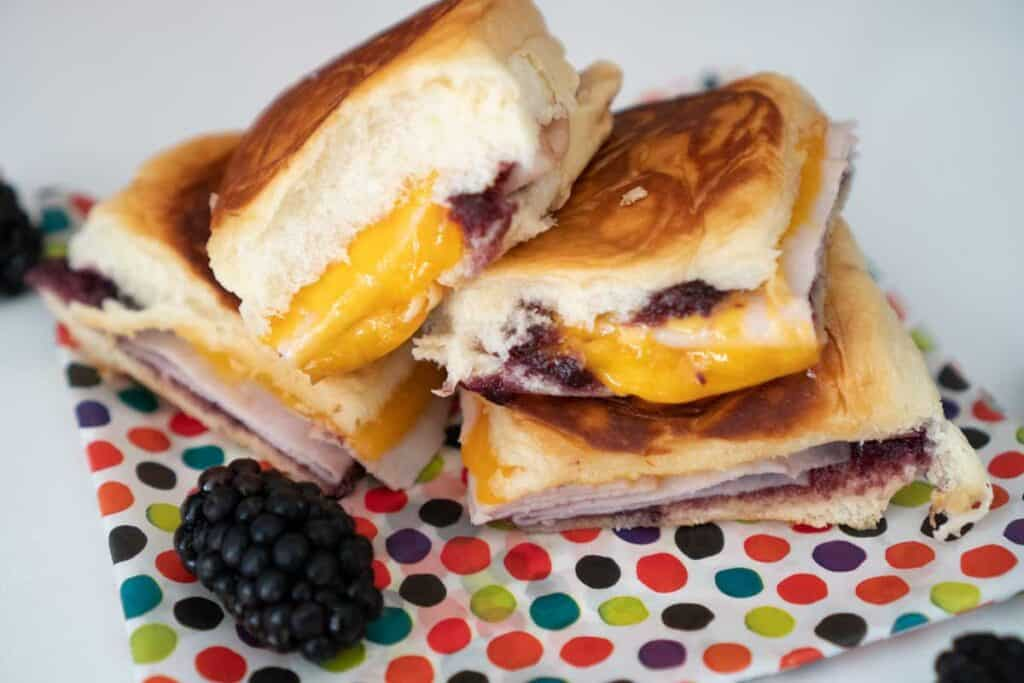 hawaiian roll grilled cheese with blackberry syrup
