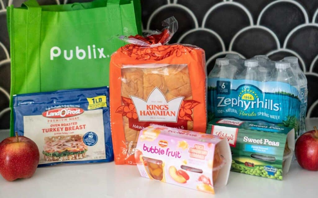 publix reusable bag and grilled cheese ingredients
