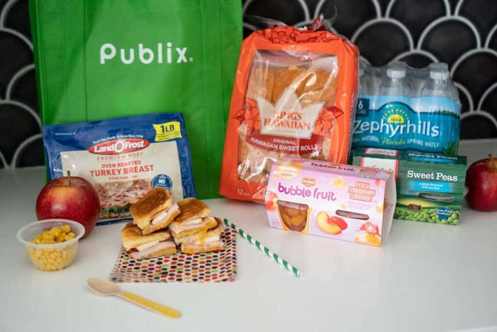publix reusable bag and grilled cheese ingredients and rolls