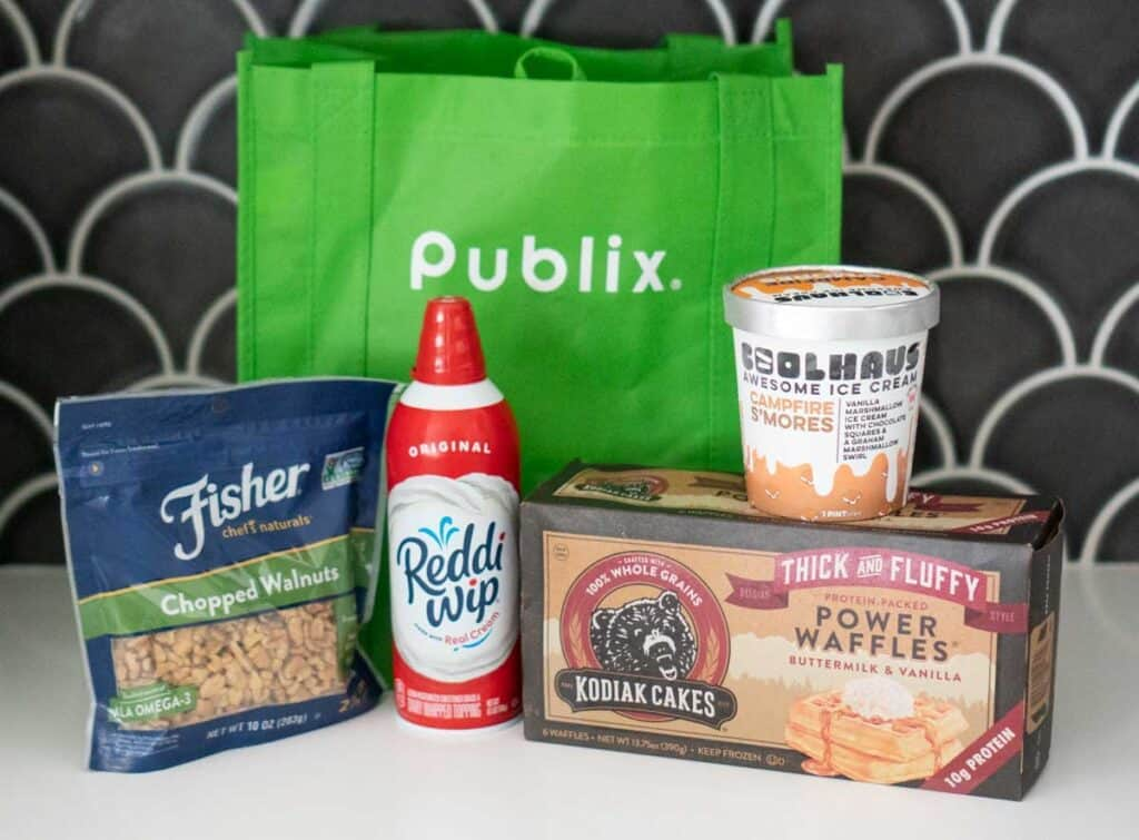 publix reusable bag with waffle ice cream sandwich ingredients