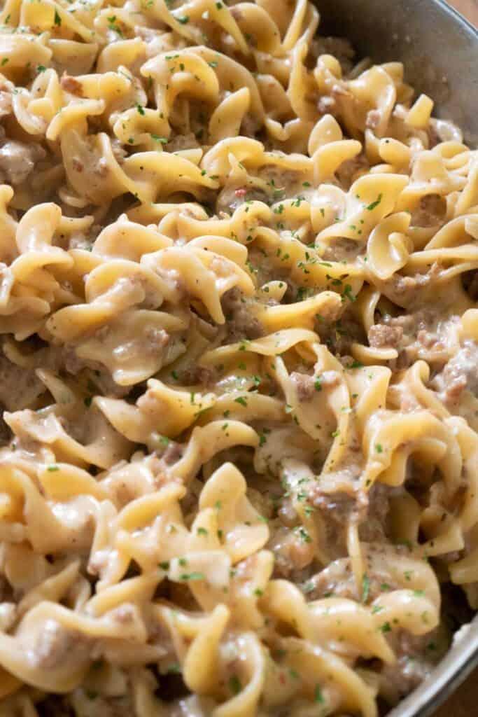 close up of creamy sausage pasta