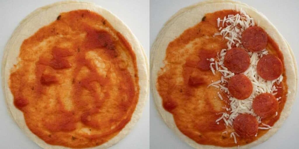 collage of making pizza quesadilla