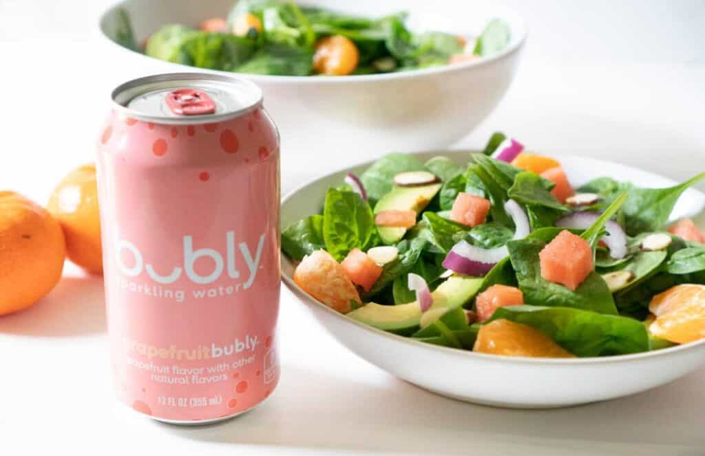 can of grapefruit bubly with avocado citrus salad
