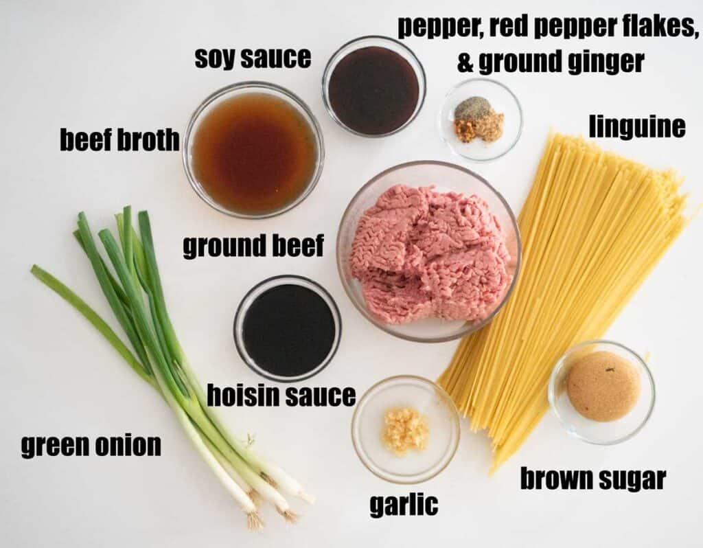 Mongolian ground beef noodle ingredients