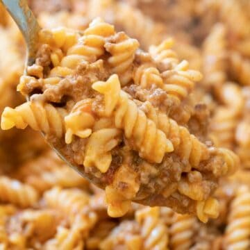 spoon with ground beef pasta